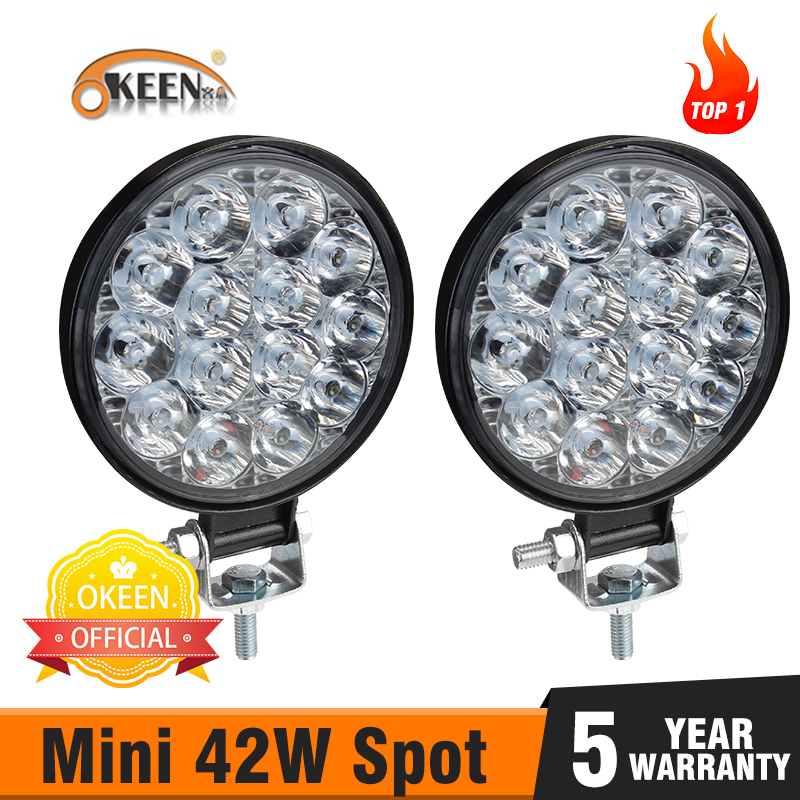 OKEEN 2pcs 42W Led Bar Off Road Led Headlights Led Work Lights For Tractors Spotlight Barra Led For 4x4 ATV UTV Truck Tractor