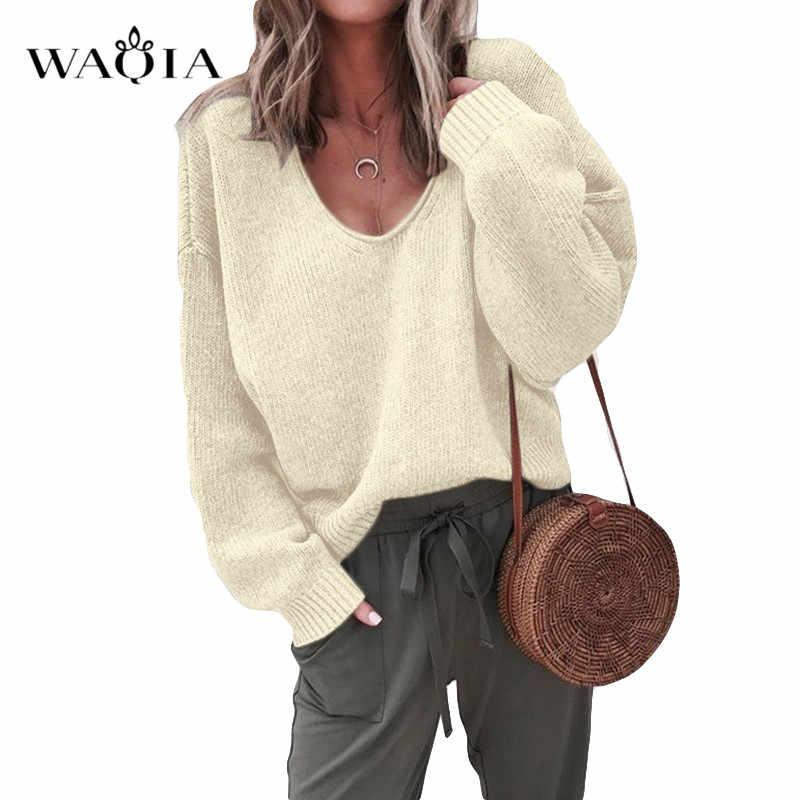 Повседневный вязаный свитер для женщин, уличная одежда, v-образный вырез, длинный рукав, пуловер, свободное одноцветное пальто 2019, Осень-зима, Модный женский свитер