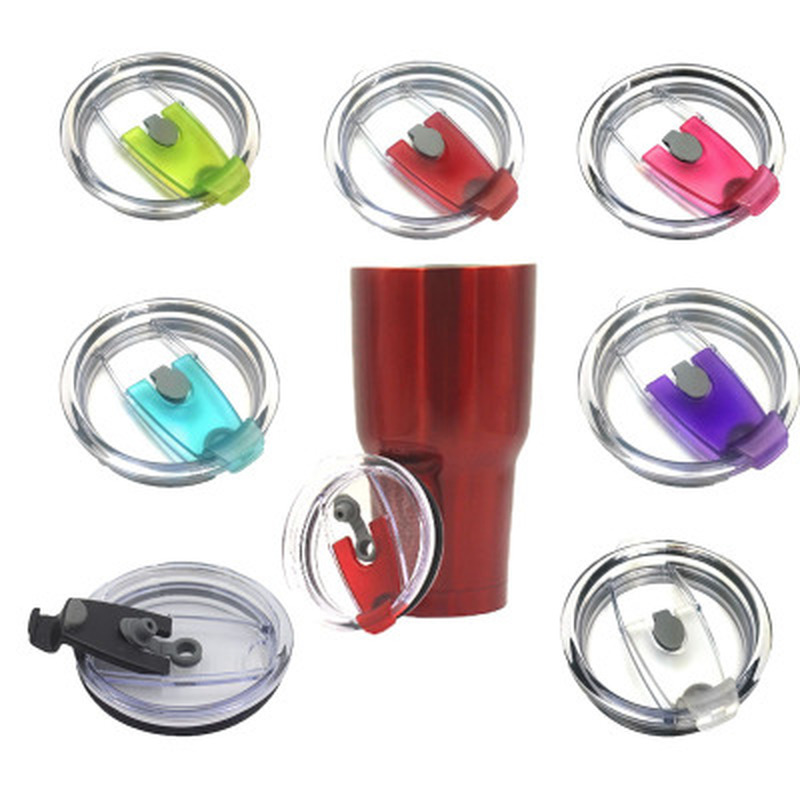 20/30oz Colorful Plastic Cup Cover For Yeti Splash Spill Proof Lid Car Coffee Sealing Transparent Straw Cup Lid Accessories