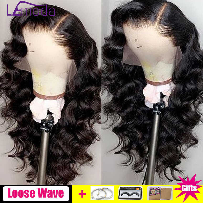 Loose Wave Wig Lace Front Human Hair Wigs Pre Plucked Lemoda Remy Free Part Hair PrePlucked Brazilian 13x4 Lace Frontal Wig