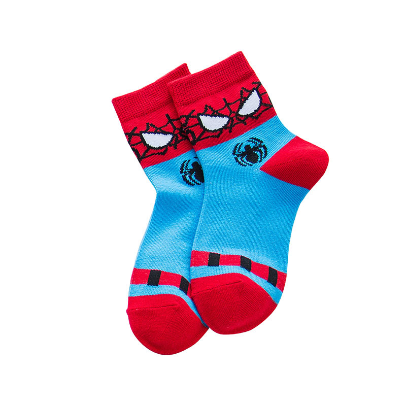 1pair New Winter Superhero Cartoon Kid Short Socks Spiderman American Captain Superman Batman Students Boys Children Sock 1-12Y