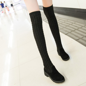 Image 3 - Womens Boots 2020 Autumn Winter Thigh High Boots For Woman Shoes Knitting Wool Long Boot Ladies Shoes Women Socks boots