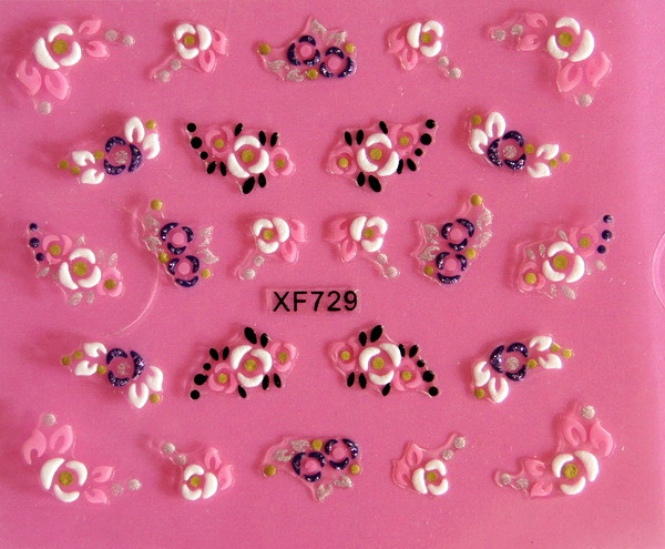 XF European Style Varved Nail Sticker Stereo Nail Sticker 3D Nail Sticker XF729