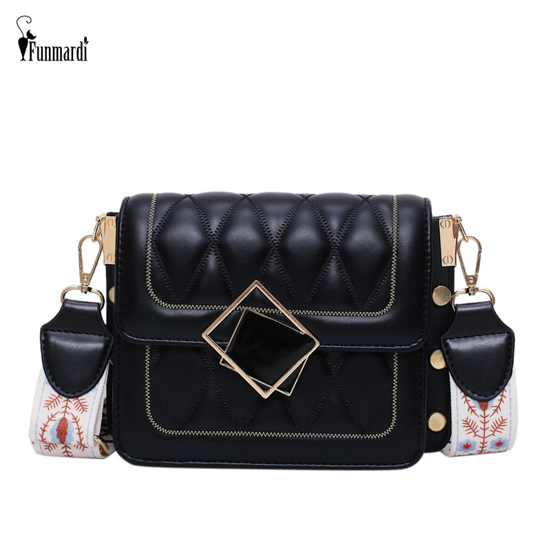 FUNMARDI Small Crossbody Bags For Women 2019 Luxury Diamond Lattice Brand Lady Bags Color Strap Design Shoulder Bags WLHB2103
