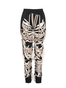 TWOTWINSTYLE Trouser Bandage Slim-Pants Patchwork Streetwear Fashion High-Waist Casual