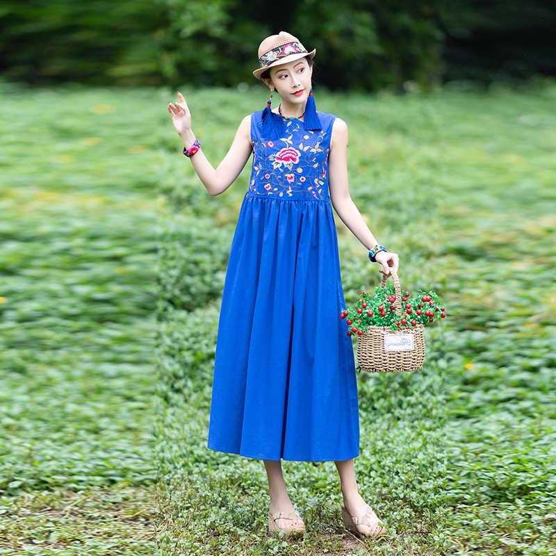 אביב קיץ שמלת נשים כחול כותנה ופשתן שמלה אלגנטי פרחוני Boho המפלגה שמלות ללא שרוולים חוף Vestido KJ4007