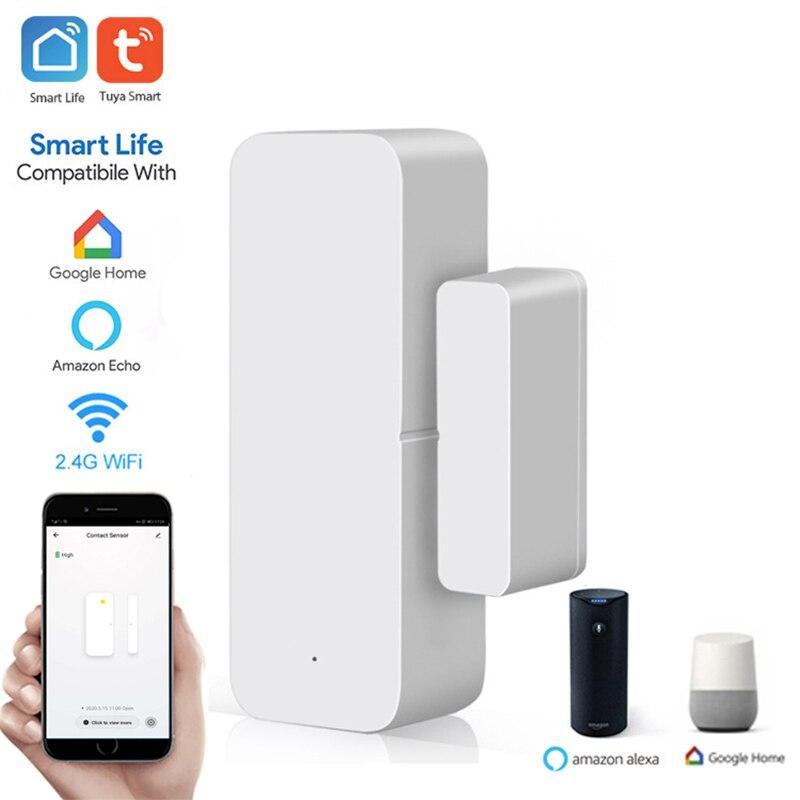 Tuya inteligente wi fi sensor de porta porta aberta/fechado detectores wi fi casa alarme compatível com alexa google casa tuya app|Sensor e detector|   -