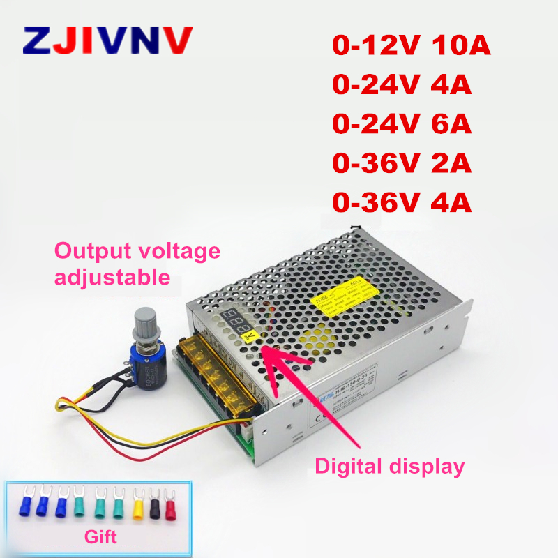 Digital display AC- DC 12V 24V <font><b>36V</b></font> 10A 4A 6A 2A 150W Adjustable Voltage Regulated <font><b>Transformer</b></font> Switching Power Supply LED Driver image