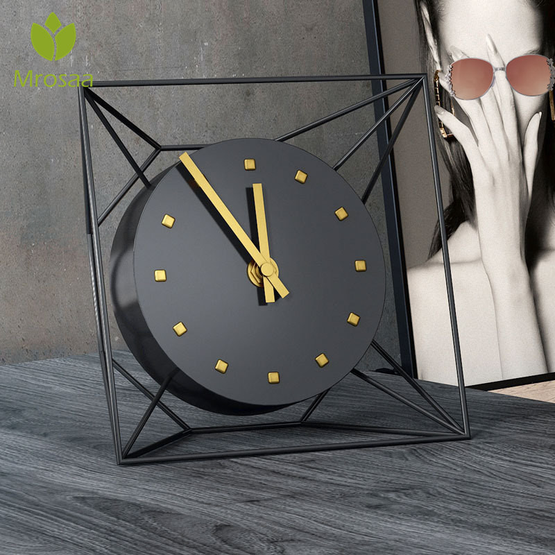 5 Inches European Antique Luxury Iron Clock Living Room Home Vintage Mute Clock Table Clock Retro Roman Desktop Ornaments