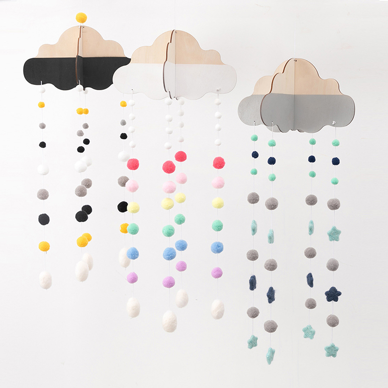 Baby Rattles Toys For Stroller Nordic Wooden Cloud Wool Ball Pendant Tent Hanging Wall Decor Props Crib Mobile Baby Products