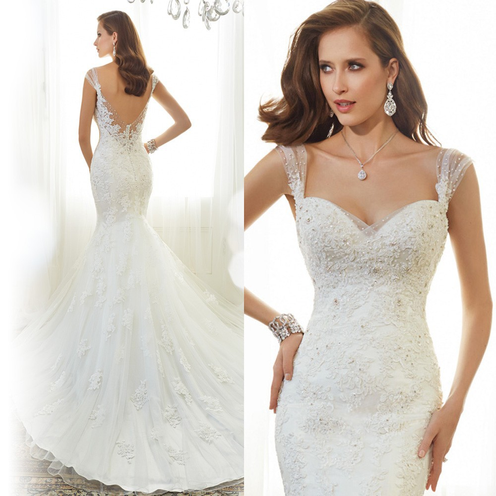 2018 Custom Made White Lace Mermaid Backless Bridal Gown Cap Sleeve Court Train Vestido de Noiva mother of the bride dresses