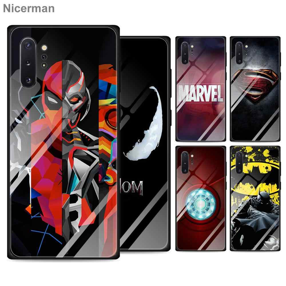 Marvel Ironman Batman Heroes Tempered Glass untuk Samsung Galaxy S10 S20 Ultra S8 S9 Plus S10e Catatan 9 10 plus A50 A30 Cover