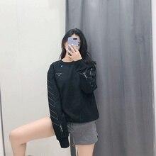 купить Autumn 2019 New Fashion Brand Sketch Round Neck Black Sanitary Clothes Print O-Neck Clothes Sweatshirt Women дешево