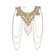 Women Gold Tassels Bikini Crossover Harness Waist Belly Body Chain Necklace Flower Floral Guipure Collar Lace Trim Embroidered(China)