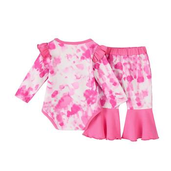 Nowonarodzone dziecko dziewczynka chłopiec maluch tie-dye różowy garnitur ładny okrągły dekolt z długim rękawem drukowane spodnie w kwiaty dziecko garnitur łatwy do chodzenia tanie i dobre opinie ARLONEET Moda CN (pochodzenie) O-neck Sweter Child Clothes Set COTTON Poliester Dziewczyny Pełna Flare rękawem Pasuje prawda na wymiar weź swój normalny rozmiar