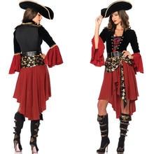 Ataullah Female Caribbean Pirates Captain Costume Halloween Role Playing