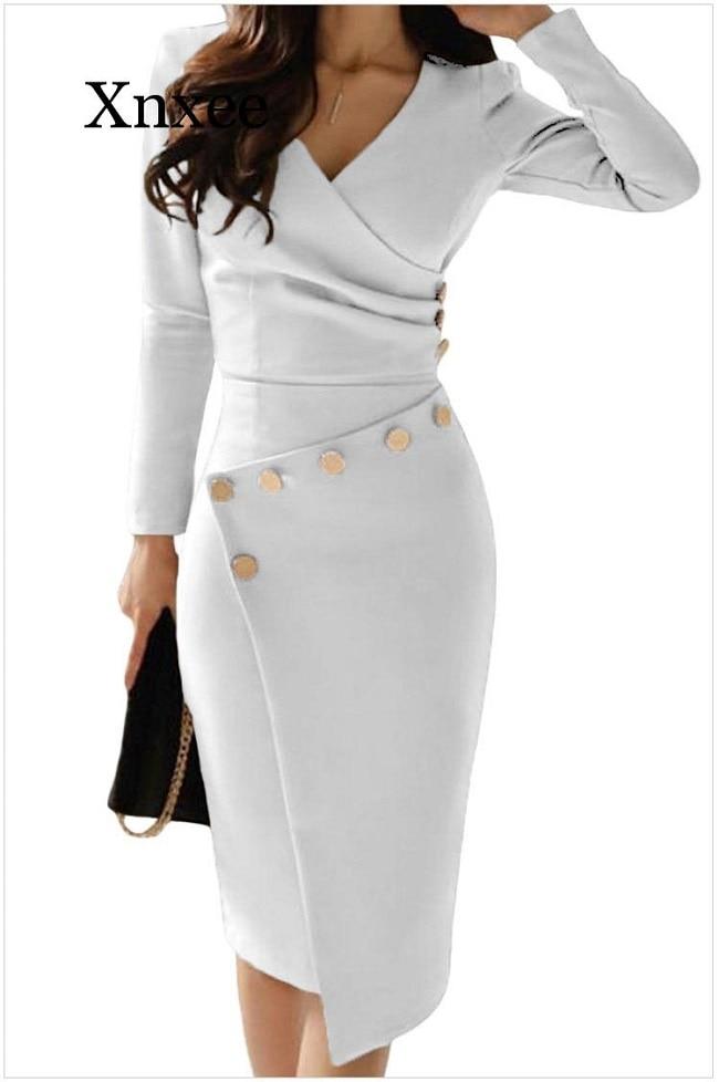 Image 5 - 2020 Women Elegant Casual Office Look Workwear Slit Party Dress  Solid Button Beading Embellished Slit Irregular Midi DressDresses   -