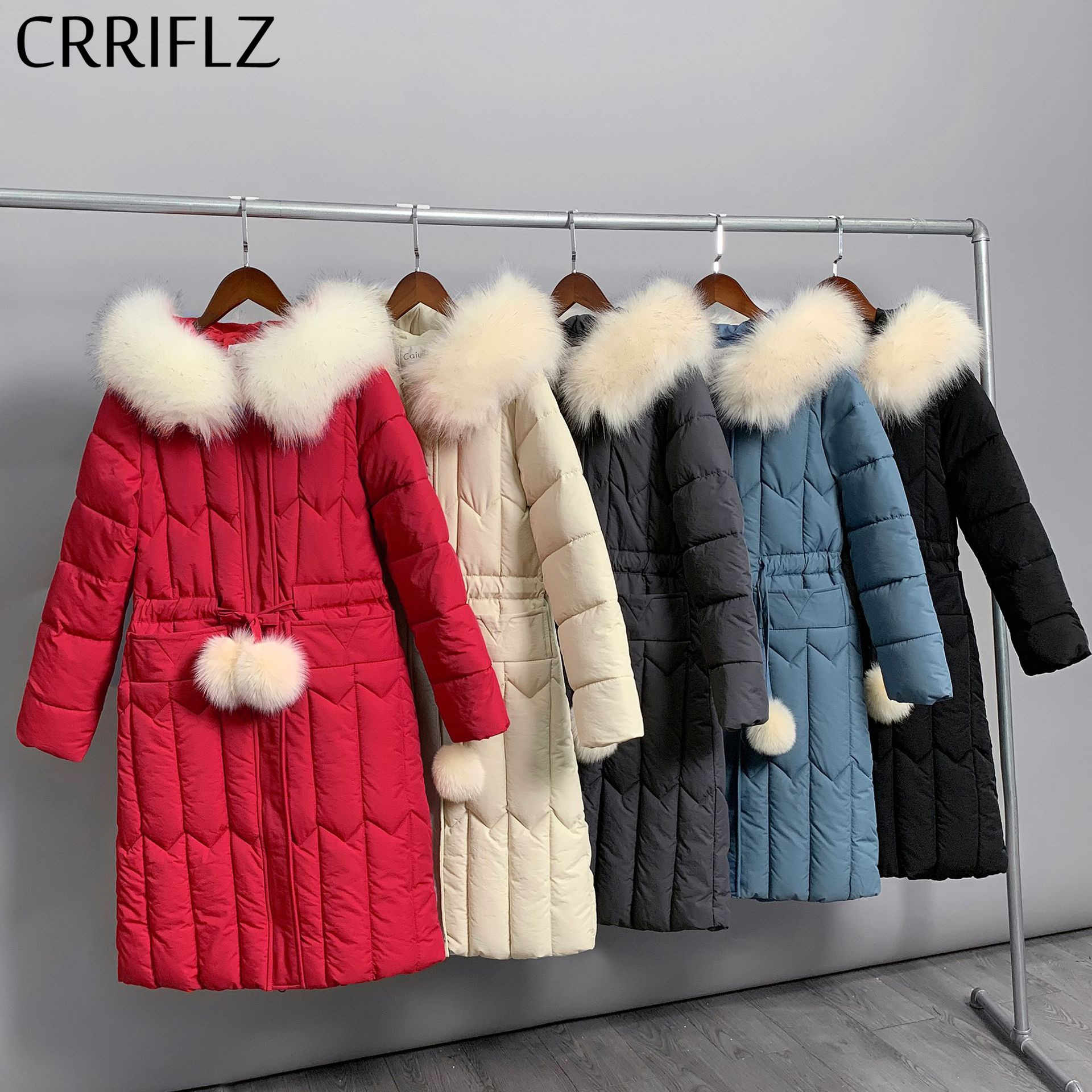 Solide fourrure col femmes veste d'hiver Long Parkas automne veste femmes chaud à capuche manteau CRRIFLZ 2019 nouvelle Collection d'hiver