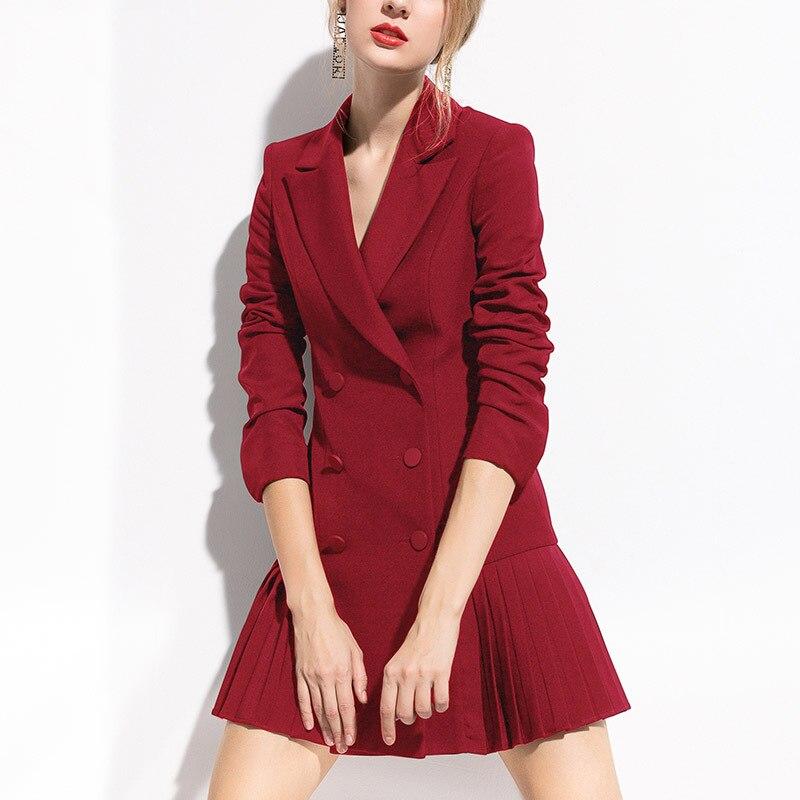 Женский костюм с длинным рукавом, двубортный пиджак, Весенняя элегантная Сексуальная Офисная Женская одежда размера плюс, модная пуговица