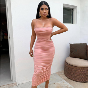 Image 2 - NewAsia Double Layers Sexy Summer Dress 2019 Pink Women Night Dresses Tight Long Party Bodycon Dress Vintage Ruched Midi Dress