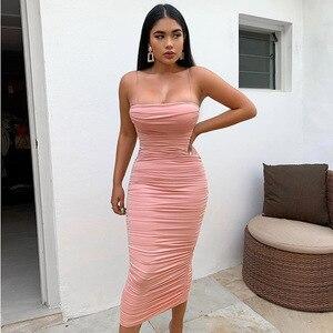 Image 2 - NewAsia vestido rosa sexi de doble capa para mujer, vestido de noche apretado largo, vestido de fiesta ceñido Vintage fruncido por debajo de la rodilla 2019