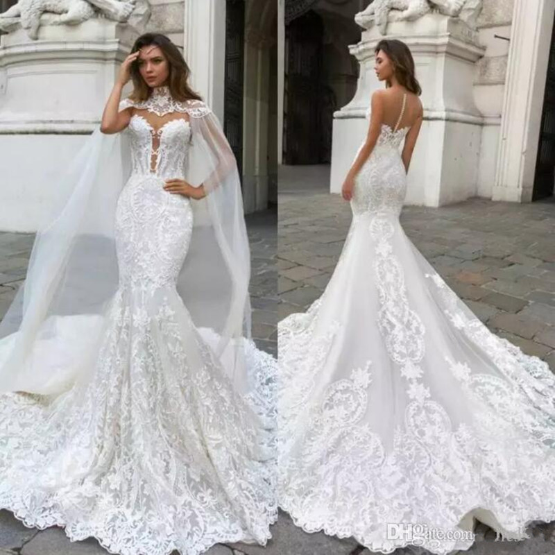 Gorgeous Mermaid Wedding Dresses With Cape Sheer Plunging Neck Bohemian Wedding Dress Lace Appliqued Bridal Gowns Vestidos