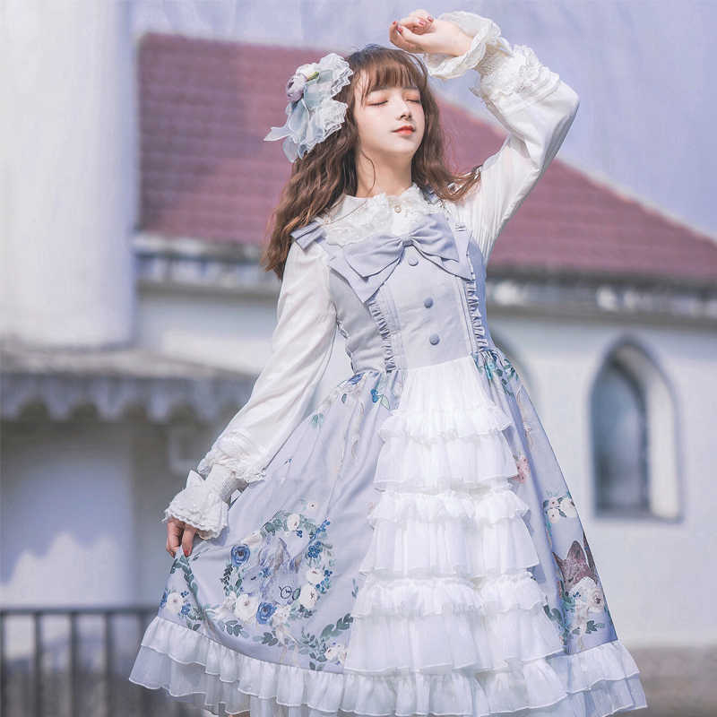 Palace sweet lolita dress japanese vintage bowknot printing high waist cardigan victorian dress kawaii girl gothic lolita jsk