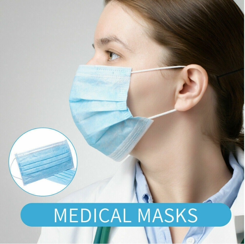 Disposable Mask Mouth Covers 3 Layers Dustproof Facial Protective Anti Dust Blue Face Covers Personal Care Supplies