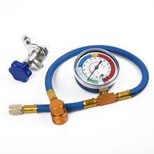 цена на R134A R12 Hose Blue Air Conditioning Refrigerant Recharge Kit Gas Gauge Equipment Practical