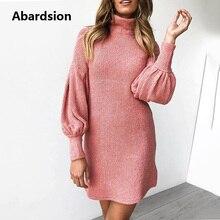 Abardsion mujer suéter vestido Otoño Invierno ropa 2019 mujer Casual suelta Rosa Puff manga larga cuello alto Vestidos de punto