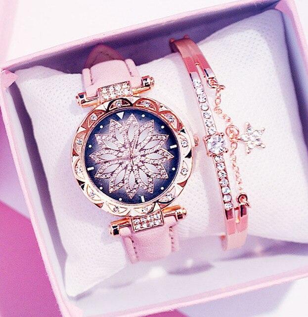 New Bracelet set Sky Casual Leather Quartz Wristwatch