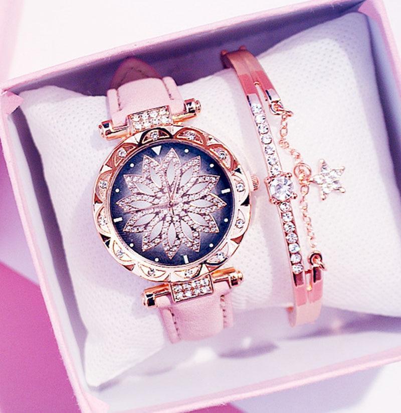 2019 kadın saatler bilezik seti yıldızlı gökyüzü bayanlar bilezik İzle Casual deri kuvars kol saati Relogio Feminino