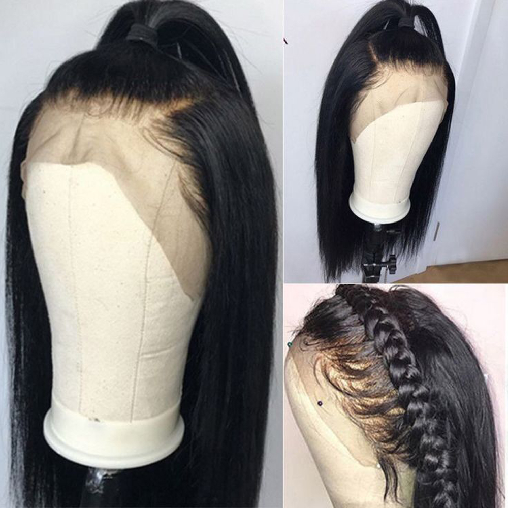 Peruvian Non Remy Straight Hair Lace Frontal Human Hair Wigs 360 Lace Frontal Wig Pre Plucked With Baby Hair Natural/2#/4# Color