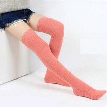 Чистый цвет, зимний теплый шерстяной чулок для женщин, длина выше колена, обтягивающие, высокое качество, чулки для студентов, дышащие, антибактериальные
