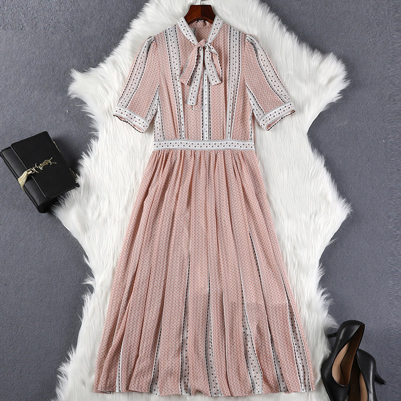 Lan Mu Square Chubby Mm Summer Wear 2019 Plus-sized WOMEN'S Dress Cover Belly Long Skirts By Age Slimming Dress 10396