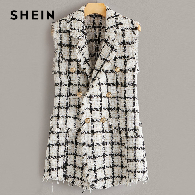 SHEIN Plaid Notch Collar Frayed Edge Tweed Vest Blazer Women Autumn Sleeveless Double Button Elegant Outwear Long Coats Blazers