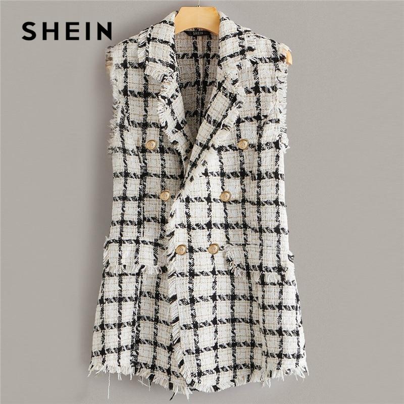 SHEIN Plaid Notch Collar Frayed Edge Tweed Vest Blazer Women Autumn Sleeveless Double Button Elegant Outwear Long Coats Blazers