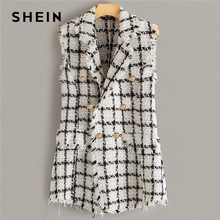 SHEIN Plaid Notch Collar Frayed Edge Tweed Vest Blazer Women Autumn Sleeveless Double Button Elegant Outwear Long Coats Blazers(China)