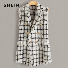 SHEIN Plaid Notch Collar Frayed Edge Tweed Vest Blazer Women Autumn Sleeveless D