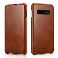 Retro Genuine Leather Case for Samsung S10 S9 Plus Flip Real Leather Handmade Arc Edge Cover for Samsung Note 8 Note 9 Coque
