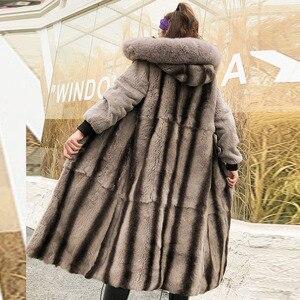 Длинное пальто с воротником из натурального Лисьего меха, женские роскошные парки, большие размеры, натуральный кроличий мех, теплая парка ...