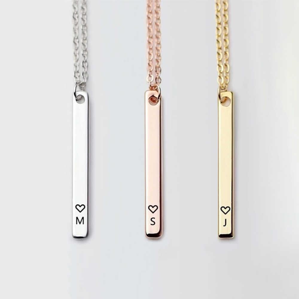 Cerah Awal 26 Huruf Kalung Kalung Bar Liontin Kalung untuk Wanita Pria Fashion Pribadi Perhiasan Hadiah DROP Shipping