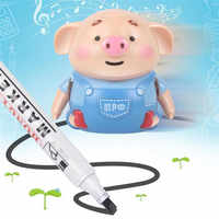 Cute Pig Robot Pen Inductive Follow Drawn Line Remote Radio Vehicle with Light Music Electric Animals Early Education Kids Toys