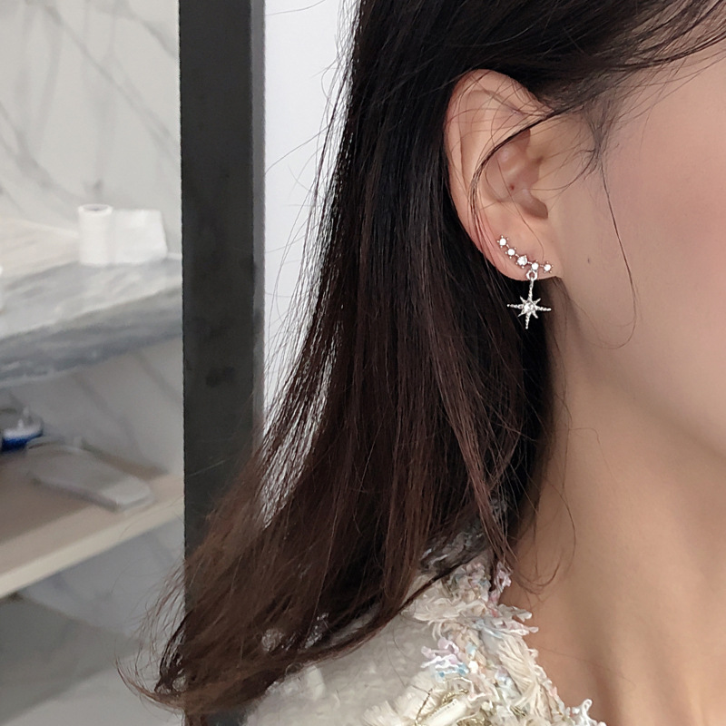New 2020 Contracted Delicate Crystal Star Temperament Drop Earrings Women Korean Classic Style Small Earrings Fashion Jewelry