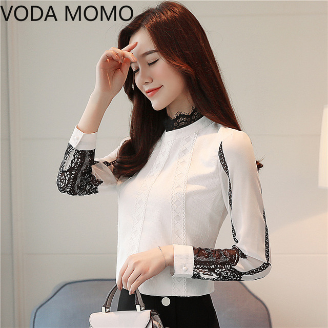 offlce long sleeve women's shirt blouse for women blusas womens tops and blouses lace chiffon shirts ladie's top plus size 2