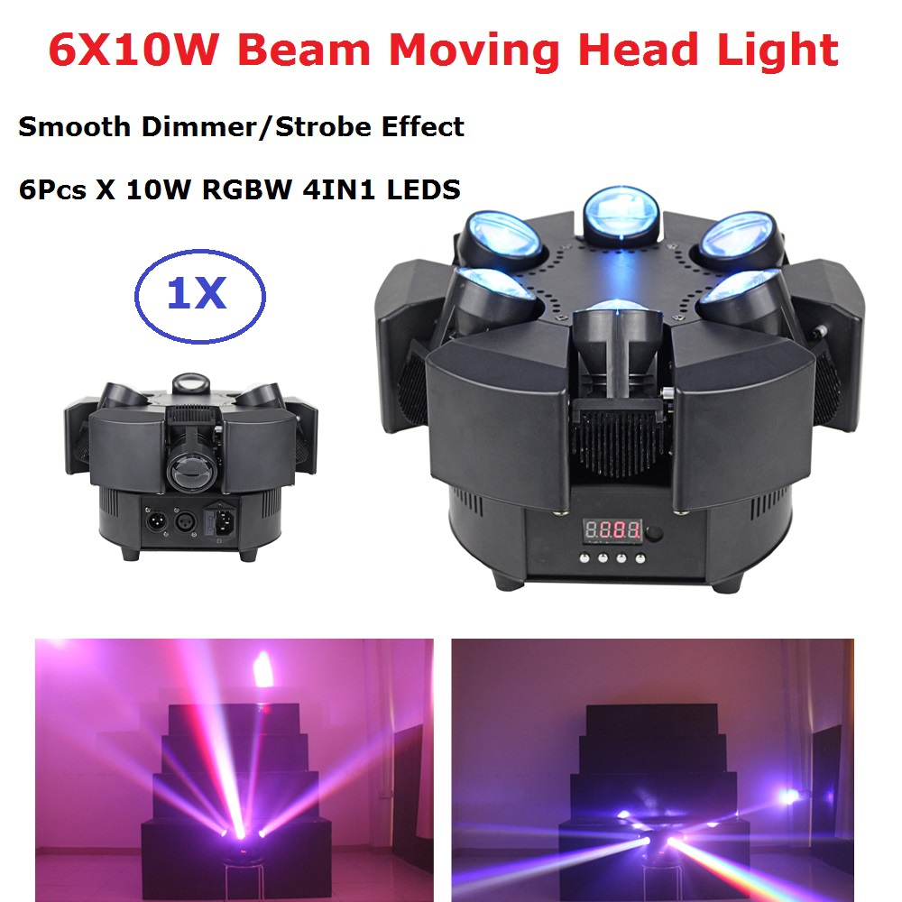 6X10W RGBW 4IN1 LED Beam Lights 6 Heads Unique Beam Moving Head Strobe Lights DMX 17/38 Channel Professional Dj Bar Party Lights-in Stage Lighting Effect from Lights & Lighting