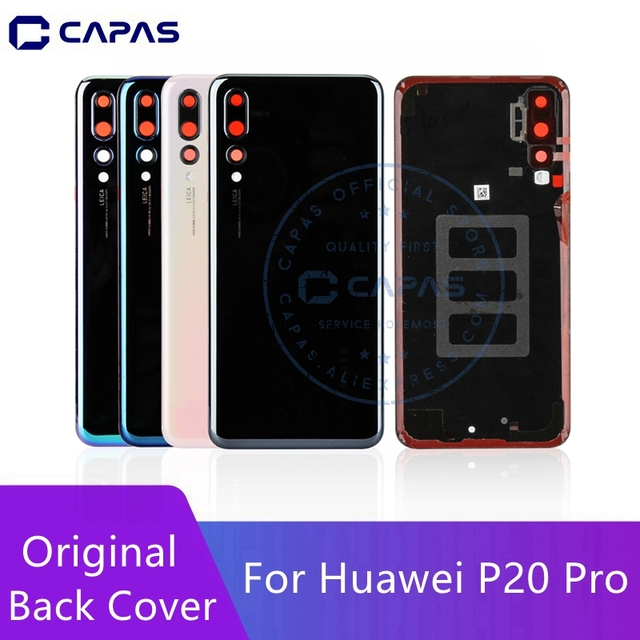 Original For Huawei P20 Pro Back Battery Cover + Camera Glass Lens For Huawei P20 Pro Rear Battery Door Cover Replacement
