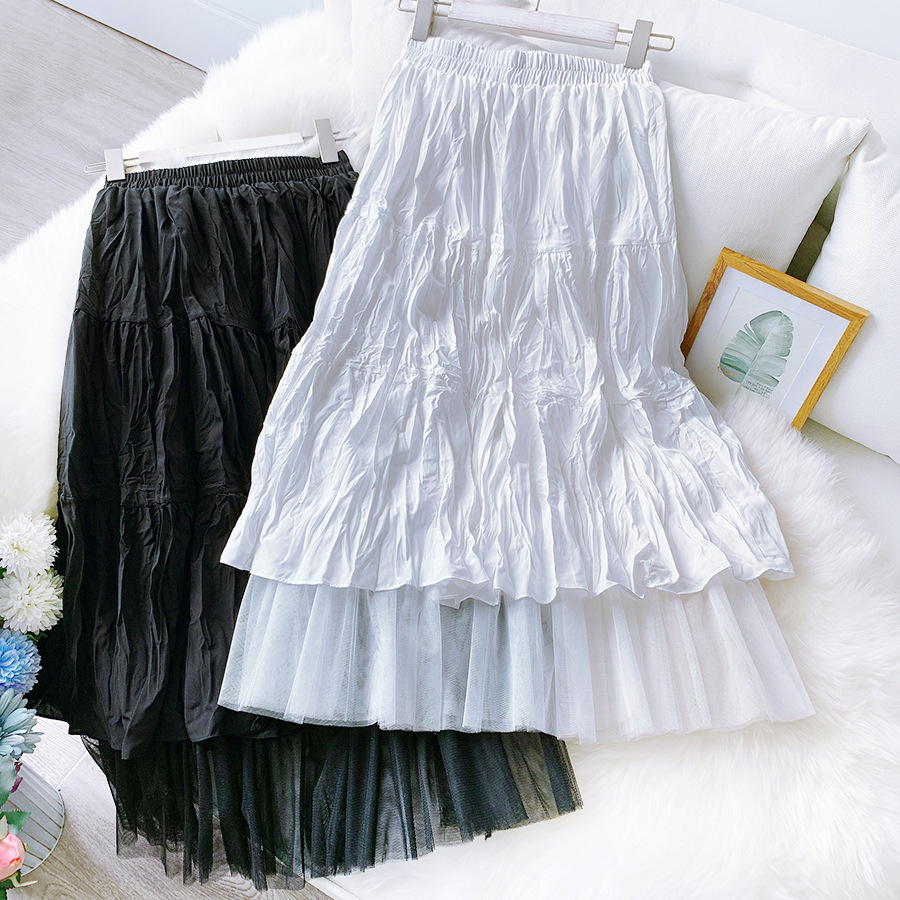 2020 Two Layer Women Summer White Long Skirt High Waist Mesh Patch Women  Boho Skirt Faldas Jupe Femme Saia