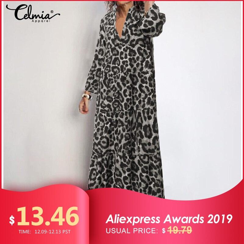 Celmia Bohemian Women Sexy Leopard Print Dress 2019 Autumn Flare Sleeve Loose V Neck Pleated Maxi Long Vestidos Robe Plus Size