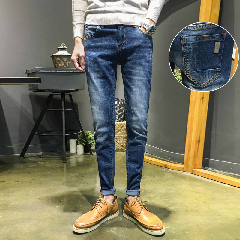 Autumn And Winter New Style Jeans Men Slim Fit Pants Youth Elasticity Casual Korean-style Versatile Trend Long Pants Men's